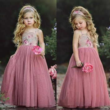 2018 New Style Princess Kids Girl Pink Lace Flower Strappy Dress Maxi Long Princess Party Children Summer Ball Gown Formal Dress