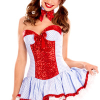 Red Strapless Sequined and Ruffled Plaid Corset Dress Country Girl Costume