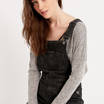 BDG Denim Dungaree Playsuit in Washed Black - Urban Outfitters