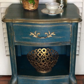 Vintage Blue Nightstand French Style 1950s