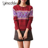 New Casual Women Ethnic Knitted Sweater or Pullovers having Long Sleeves O neck