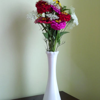 White Vase, Fluted Milk Glass Vase, Vintage White Bud Vase, Depression Glass
