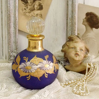 Vintage painted Blue Gold big perfume bottle frosted cobalt French chic bottle shabby chic floral perfume bottle