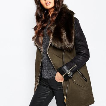 River Island Faux Fur Trim Detail Parka