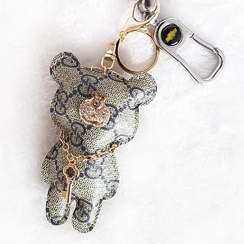 "Hot Sale ""GUCCI"" Fashionable Women Men Cute Diamond Bear Bag Hanging Drop Car Key Chain Bag Accessories Lovers Gift Grey"