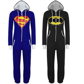 Unisex Adult Onesuit Pajamas Batman Superman Costume Cosplay Sleepwear Halloween Costumes