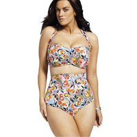 Cheery Floral Printed Plus size Bikinis Set bathing suit