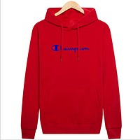 Champion three-dimensional printing plus velvet thick sweater Red