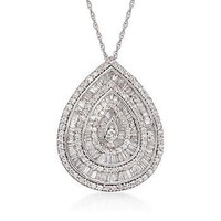 """Ross-Simons - 2.25 ct. t.w. Baguette and Round Diamond Teardrop Necklace in 14kt White Gold. 18"""" - #793859"""