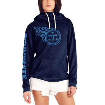 Women's Junk Food Navy Tennessee Titans Sunday Funnel Neck Pullover Hoodie