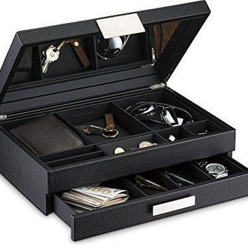 Glenor Co Mens Valet / Dresser Organizer - 12 Slot Luxury Jewelry Accessories Box, Carbon Fiber Design, Drawer Tray, Metal Buckle & Large Mirror for Men's Watches, Sunglasses, Wallet… Pu Leather Black