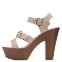 Light Taupe Buckled Wooden Platform Sandals by Charlotte Russe
