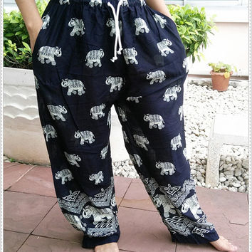 Unisex Black Elephants Print Yoga Pant Baggy Boho Style Gypsy Tribal Hipster Plus Size Aladdin Clothing Beach Zen Harem Men Women Thai Rayon
