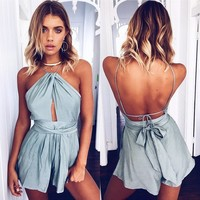 Elegant Hollow Out Jumpsuit Romper Backless Sashes Beach