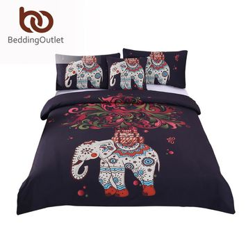 BeddingOutlet 4 Pieces Bohemian Bedding Set Elephant Tree Black Printed Boho Duvet Cover Set Soft Bedspread Twin Full Queen King