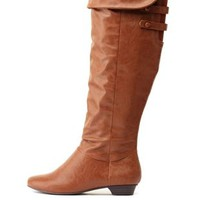Covered Button-Belted Knee-High Boots by Charlotte Russe - Tan