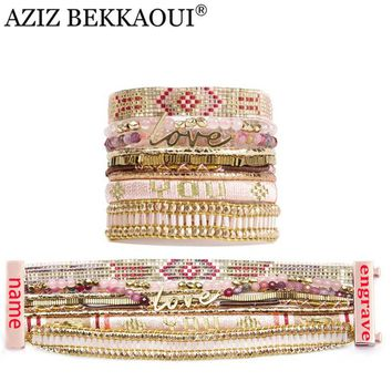 AZIZ BEKKAOUI Multilayer Wide Bracelets & Bangles with Bead Chain Magnetic Clasp Engraved Name Bracelets for Women 2017 pulseras