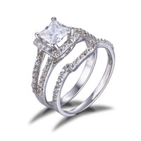 CZ Princess Engagement Wedding Ring Set 925 Sterling Silver Rings Bridal Jewelry Gift