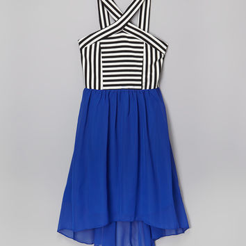 Speechless Black & Royal Blue Stripe Hi-Low Dress - Girls | zulily
