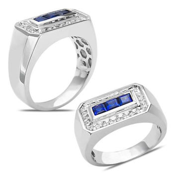 Men's 1/4CT Diamond Ring with Sapphires 10k White Gold with Cage Back