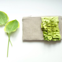 Chartreuse Green Ombre Linen Burlap Ruffle Clutch - Citron Bag - Ombre Wedding - Lime Green Wedding