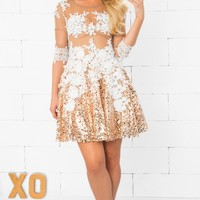 Indie XO Evening of Extravagance Gold White Sheer Mesh Lace Sequined 3/4 Sleeve Zip Back Flare Mini Dress - Just Ours!