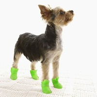 [$4.99] Cat / Dog Shoes & Boots Waterproof Winter / Spring/Fall Solid Yellow / Blue / Purple / Black / Pink Silicone