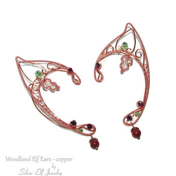 Copper Woodland Elf Ears, LOTR Elf Ears, fantasy earrings, elf ear cuff, elf ear wrap, Cosplay jewelry