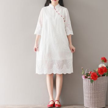 EMBROIDERY LOOSE DRESS CHIFFON MODIFIED CHEONGSAM DRESS