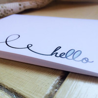 Cursive Blue Heart Hello Card// Everyday Greeting Card// Thinking of you// Any Occasion
