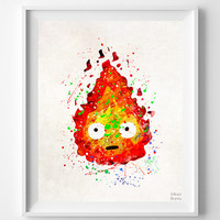 Howl's Moving Castle Print, Calcifer, Studio Ghibli, Art Print, Watercolor Art, Anime, Illustration Art, Nursery Art, Mothers Day Gift