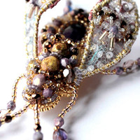 Lilac Beetle with Amethyst - bead embroidered brooch. Nature jewelry, insect jewelry, beetle jewelry