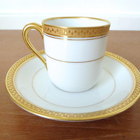 Two Noritake Japan Washington demitasse cup and saucer, fine bone china with gold rim