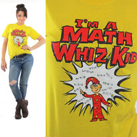 Math Wiz T shirt 80s Retro Tee Smart math Tee Nerd Tshirt Vintage 1980s Graphic print Tshirt cartoon Tee Math team Tee Yellow red M Medium