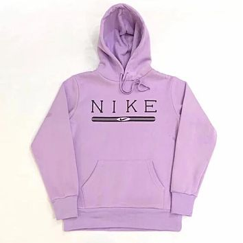 NIKE Trending Women Men Casual Velvet Hoodie Sweater Top Sweatshirt Purple