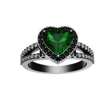 Diamond Engagement Ring Heart Shaped Green Emerald Engagement Ring 14K Black Gold with 8x8mm Green Emerald Center - V1083