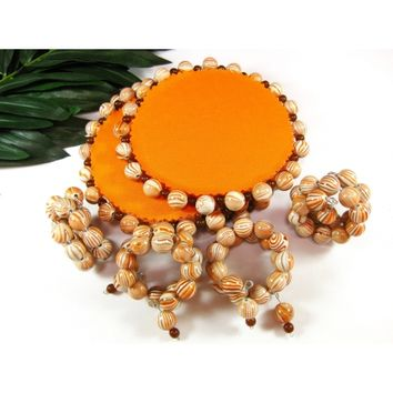 Handmade Beaded Drink Coasters and Napkin Holders, Orange, Set of Four
