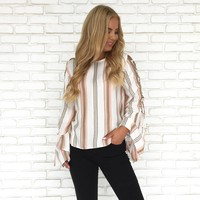 Striped Down Bell Sleeve Blouse