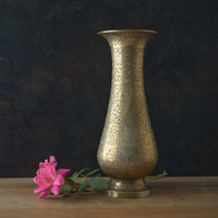 Beautiful Floral Engraved Tall Brass Vase