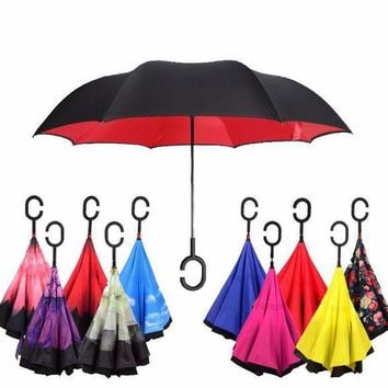 ONETOW Windproof Umbrella Reversible Double Layer Inverted & Anti-UV Sun/Rain