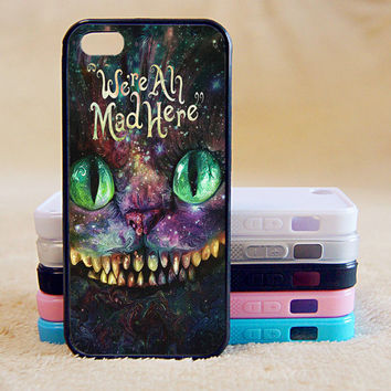 We're all mad here,Alice,Custom Case, iPhone 4/4s/5/5s/5C, Samsung Galaxy S2/S3/S4/S5/Note 2/3, Htc One S/M7/M8, Moto G/X