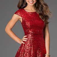 Short Cap Sleeve Sequin Dress