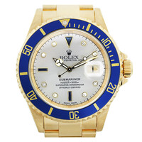 Rolex Yellow Gold Submariner Wristwatch Ref 16618 with Diamond Serti Dial