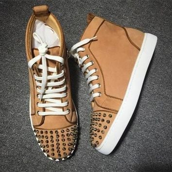 Cl Christian Louboutin Lou Spikes Style #2203 Sneakers Fashion Shoes