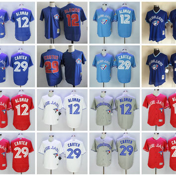 Toronto Blue Jays Baseball Jerseys Retro Retired Player 12 Roberto Alomar Jersey Mens 29 Joe Carter Throwback Cooperstown Cool Base Jersey