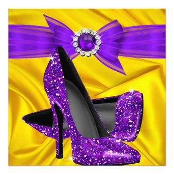 Birthday Party Purple High Heels Yellow Silk 5.25x5.25 Square Paper Invitation Card
