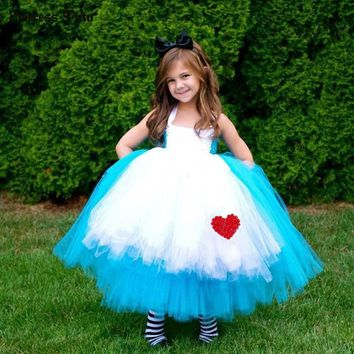 Blue Princess Girls Alice Dress Kids Baby Alice in Wonderland Cosplay Fancy Tutu Dress Children Halloween Carnival Party Costume