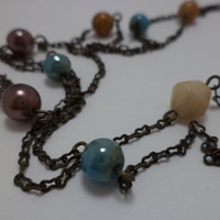 Beautiful, Extra Long, Beaded, Bronze, Chain, Glass Bead, Necklace