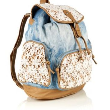 Crochet Backpack : New Look Mobile Light Blue Denim Crochet Backpack