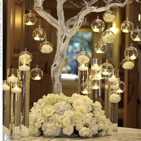 12PCS/Lot  Christmas Hanging Tealight Holder Glass ORB Terrarium  Glass Globe Candle Holder  Candlestick Wedding  Bar Decor